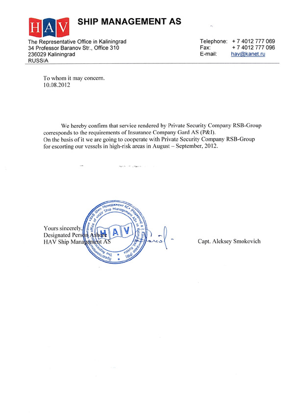 Recommendation Letter From P&I Dutch Pool. Rsb-Group - Military