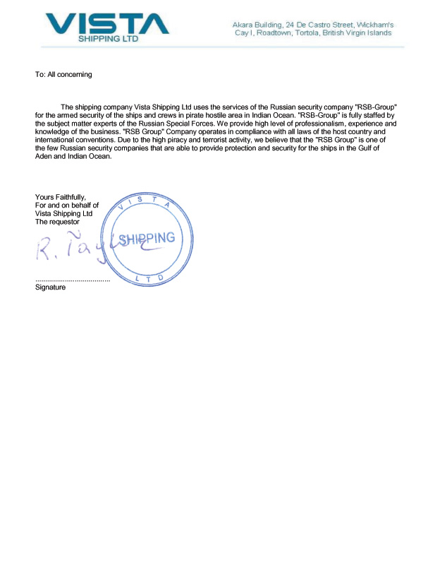 Recommendation Letter From Vistashipping Ltd. Rsb-Group - Military